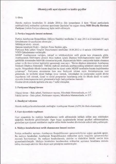 Milli Dirçəliş Hərəkatı Partiyasının 2016-cı il üçün MALİYYƏ HESABATI